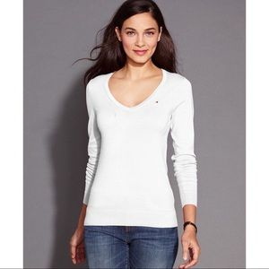 Tommy Hilfiger V-Neck White Sweater 100% Cotton